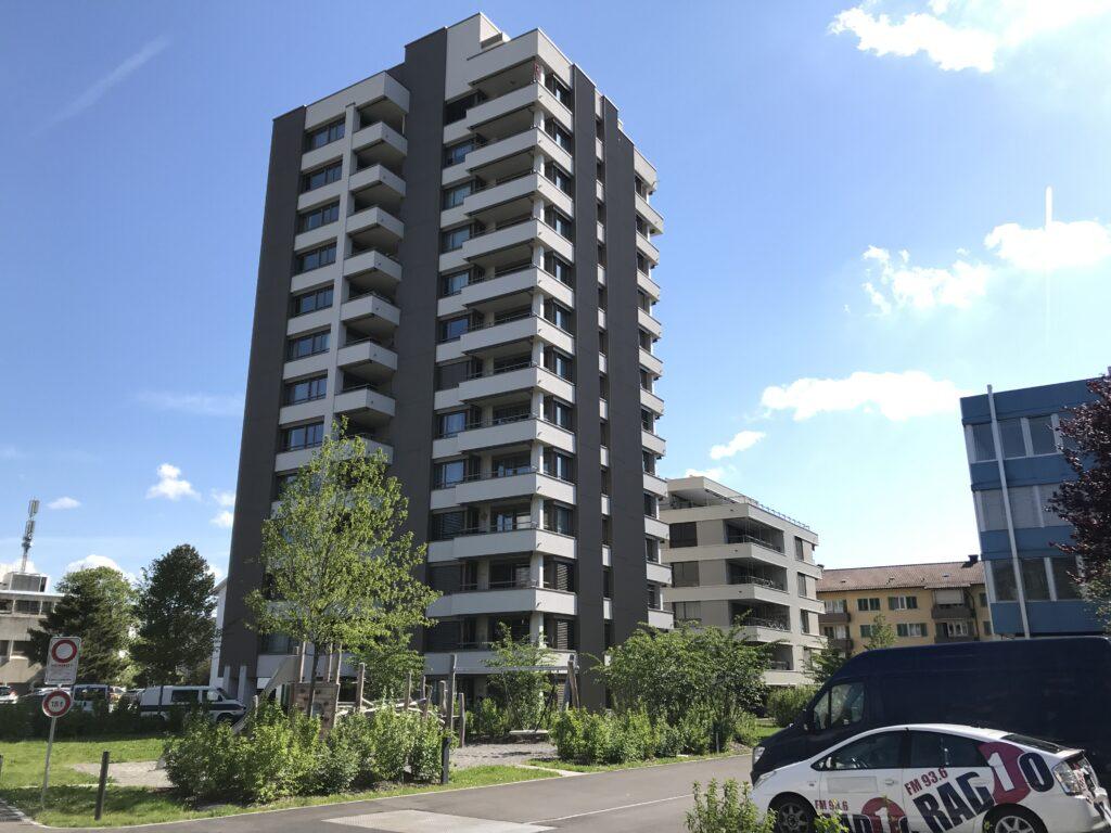 Hochhaus Nutzungsart Wohnen + Gewerbe an der Albisriderstrasse in Zürich